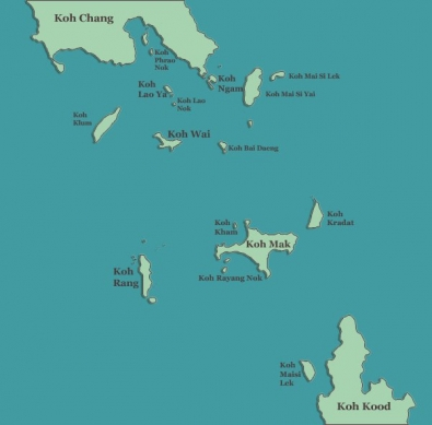 Koh Chang Map with Koh Chang Islands