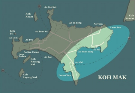 Koh Mak map-Koh-Mak-beaches-South and East Coast